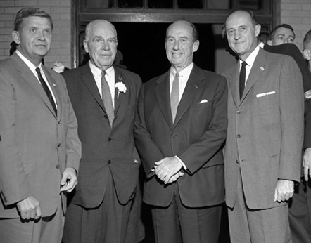"Governor Terry Sanford, Governor Luther Hodges, Adlai Stevenson, and Mayor Emanuel ""Mutt"" Evans"