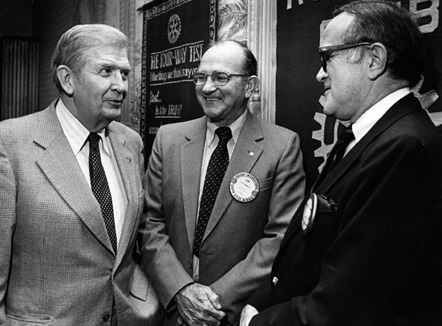 Governor Terry Sanford, Former Mayor Jim Hawkins, and Mayor Charles Markham, 1982