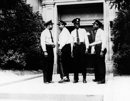 """Hayti Police Officers Outside of the Durham County Courthouse"""