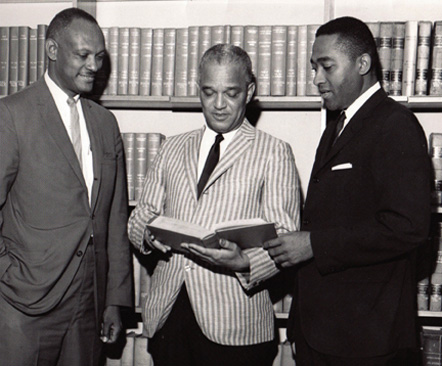 North Carolina Central University School of Law Professor Hugo Payne, Dean Daniel G. Sampson, and Future State Supreme Court Chief Justice Henry E. Frye, Sr.
